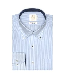 BRICKHOUSE/ワイシャツ 長袖 形態安定 ボタンダウン 白×サックスストライプ スリム/503374228