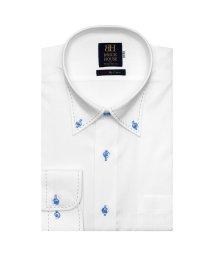 BRICKHOUSE/ワイシャツ 長袖 形態安定 ボタンダウン 白×バスケットチェック織柄 標準体/503374229