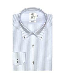 BRICKHOUSE/ワイシャツ 長袖 形態安定 ボタンダウン 白×サックスストライプ スリム/503374231