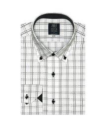 BRICKHOUSE/ワイシャツ 長袖 形態安定 ドゥエボットーニ ボタンダウン 白×黒チェック 標準体/503374232