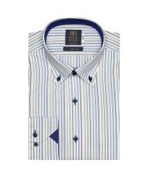 BRICKHOUSE/ワイシャツ 長袖 形態安定 ドゥエボットーニボタンダウン 白×ブルー 標準体/503374233