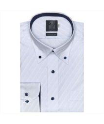 BRICKHOUSE/ワイシャツ 長袖 形態安定 ボタンダウン サックス×斜めストライプ織柄 標準体/503374240