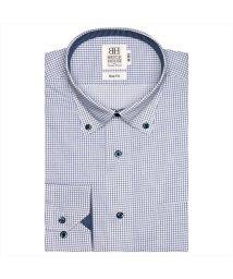 BRICKHOUSE/ワイシャツ 長袖 形態安定 ドゥエボットーニボタンダウン 白×ブルー スリム/503374244