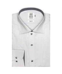 BRICKHOUSE/ワイシャツ 長袖 形態安定 ワイド グレー×ストライプ織柄 スリム/503374245
