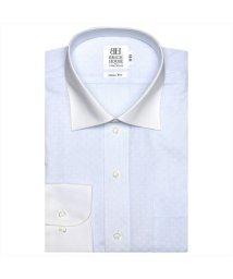 BRICKHOUSE/ワイシャツ 長袖 形態安定 クレリック ワイド 白×サックスストライプ スリム/503374247