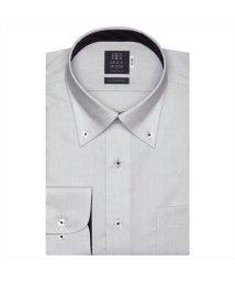 BRICKHOUSE/ワイシャツ 長袖 形態安定 ボタンダウン グレー×ヘリンボーン織柄 標準体/503374253