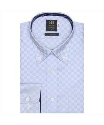 BRICKHOUSE/ワイシャツ 長袖 形態安定 ボタンダウン サックス×市松格子織柄 標準体/503374258