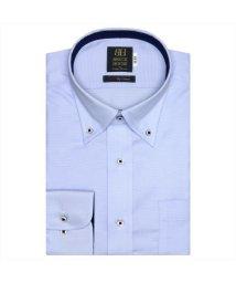 BRICKHOUSE/ワイシャツ 長袖 形態安定 ボタンダウン サックス×織柄 標準体/503374259