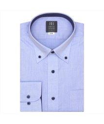 BRICKHOUSE/ワイシャツ 長袖 形態安定 ボタンダウン ブルー×斜めストライプ織柄 標準体/503374263