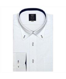 BRICKHOUSE/ワイシャツ 長袖 形態安定 ボタンダウン 白×サックスボーダーストライプ  標準体/503374268