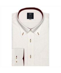 BRICKHOUSE/ワイシャツ 長袖 形態安定 ボタンダウン 白×ブラウンボーダーストライプ  標準体/503374269