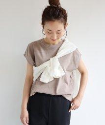 and Me.../ピグメント加工フレンチスリーブ裾ラウンドTシャツ チュニック/503375468