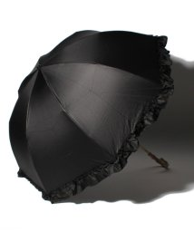 pink trick/完全遮光 晴雨兼用 2段折りたたみ傘 フリル 遮光率100% 遮蔽率100% 1級遮光 遮熱 軽量 UVカットブラック×フリル /503364493