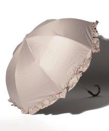 pink trick/完全遮光 晴雨兼用 2段折りたたみ傘 フリル 遮光率100% 遮蔽率100% 1級遮光 遮熱 軽量 UVカットアイスグレージュ×フリル /503364494