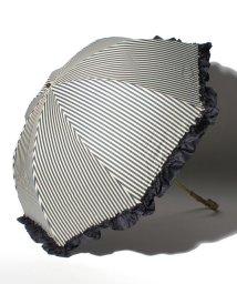 pink trick/完全遮光 晴雨兼用 2段折りたたみ傘 フリルストライプ 遮光率100% 遮蔽率100% 1級遮光 遮熱 軽量 UVカットネイビー×フリル /503364496