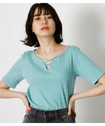 AZUL by moussy/HEART NECK LACE UP TOPS/503376326