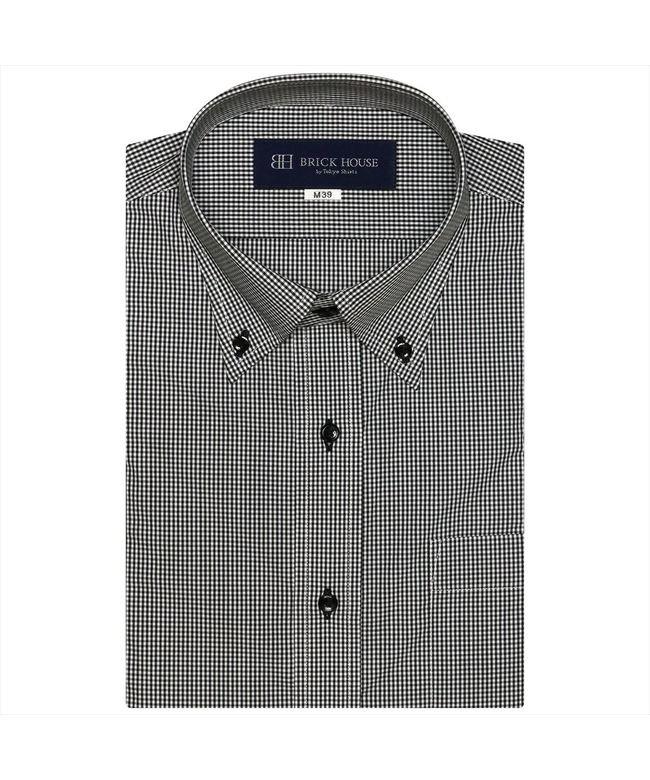 【33%OFF】 トーキョーシャツ ワイシャツ 半袖 形態安定 ボタンダウンメンズ メンズ クロ・グレー M39(半袖) 【TOKYO SHIRTS】 【セール開催中】