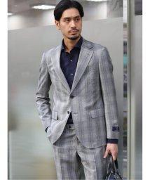 TAKA-Q/マルゾット/MARZOTTO ウール スリムフィット2釦2ピーススーツ 白黒グレンブレイド/503138324
