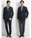 TAKA-Q/トラベスト/TRABEST コーディネート2パンツ レギュラーフィット2釦スーツ 紺マイクロチェック/503138342
