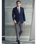 TAKA-Q/トラベスト/TRABEST コーディネート2パンツ レギュラーフィット2釦スーツ 紺ウィンドペン/503138343