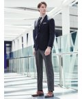 TAKA-Q/ウール混メッシュ レギュラーフィット2釦コーディネート2パンツスーツ 紺無地/503138349