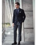 TAKA-Q/ウール混ドッツ コーディネート2パンツ レギュラーフィット2釦スーツ 紺チェック/503138351