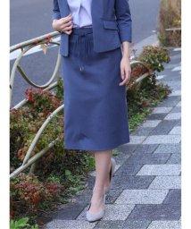 TAKA-Q/高機能リネン混セットアップ フレアースカート 青/503138992