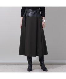 EUCLAID/レザー切替フレアスカート/503379945
