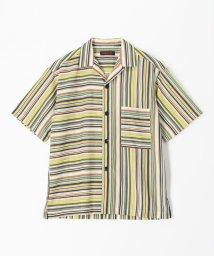CABaN /ナイロン マルチストライプオープンカラーシャツ/503380060
