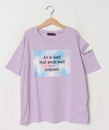 Lovetoxic/タイダイ柄ボックスロゴ肩開きTシャツ/503364506