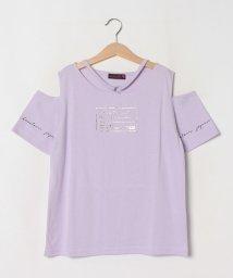 Lovetoxic/チョーカー風箔プリント入り肩開きTシャツ/503364518