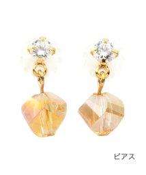 cream dot/多面カットクリスタルのちょい揺れピアス/イヤリング/503381617