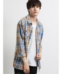 semanticdesign/インディゴチェック柄レギュラーカラー7分袖シャツ/503382209