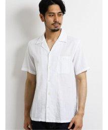 TAKA-Q/綿麻ドビーストライプ オープンカラー半袖シャツ/503382215