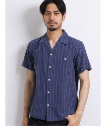 TAKA-Q/綿麻クラシコストライプ オープンカラー半袖シャツ/503382216