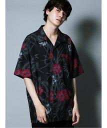 semanticdesign/ダークボタニカル柄 オープンカラー半袖BIGシャツ/503382225