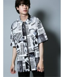 semanticdesign/ニュースペーパー柄フルジップ半袖BIGシャツ/503382226