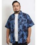 GRAND-BACK/【大きいサイズ】グランバック/GRAND-BACK インディゴ総柄レギュラーカラー半袖シャツ/503382247