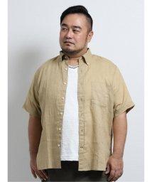 GRAND-BACK/【大きいサイズ】ポロ/POLO フレンチリネン ボタンダウン半袖シャツ/503382274
