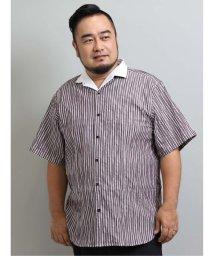 GRAND-BACK/【大きいサイズ】レノマオム/renoma HOMME タックストライプ スタンド衿ワイヤー半袖シャツ/503382296