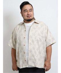 GRAND-BACK/【大きいサイズ】グランバック/GRAND-BACK 綿麻リーフプリント オープンカラー半袖シャツ/503382302