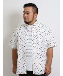 GRAND-BACK/【大きいサイズ】グランバック/GRAND-BACK リップルマリンプリント ショートボタンダウン半袖シャツ/503382303