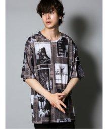 semanticdesign/ニュースペーパー柄 クルーネック半袖Tシャツ/503382357