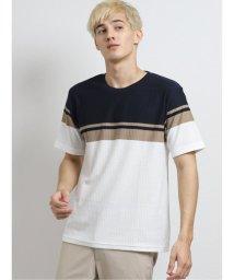 m.f.editorial/ヘリンボンパネルボーダー クルーネック半袖Tシャツ/503382405