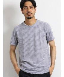 TAKA-Q/ナノファイン/NANOFINE 杢ストライプ クルーネック半袖Tシャツ/503382411
