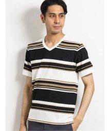 TAKA-Q/ボルテックス/VORTEX リップルマルチボーダーVネック半袖Tシャツ/503382427