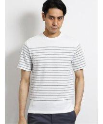 TAKA-Q/ナノファイン/NANOFINE ワッフルボーダー クルーネック半袖Tシャツ/503382429
