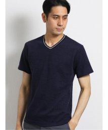 TAKA-Q/ナノファイン/NANOFINE ふくれジャガードVネック半袖Tシャツ/503382430