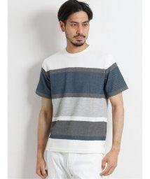 TAKA-Q/接触冷感ポップコーンボーダー クルーネック半袖Tシャツ/503382431
