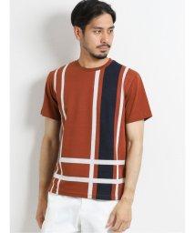 TAKA-Q/接触冷感チェックジャガード クルーネック半袖Tシャツ/503382432